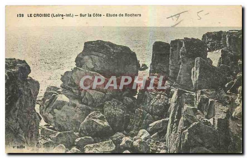 Old Postcard Croisic Loire Inf On the Rocks Approval Study