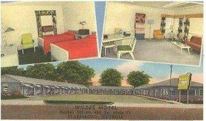 pc3012 postcard Statesboro Georgia Wildes Motel Linen