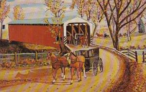 Pennsylvania Witmer Heart Of Amishland Covered Bridge And Carriages