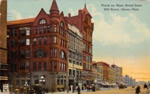 Akron Ohio~North on Main Street~Pastime 5c~Home Furniture Co~1913 Postcard