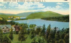 NY - Lake Placid, Bird's Eye View of Mirror Lake, Whiteface Mountain in Dista...