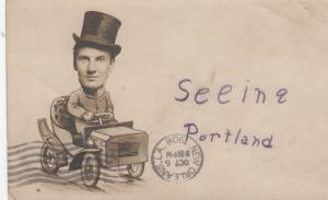 RP: PORTLAND , Oregon , PU-1908 ; Man in car Studio Photo Postcard