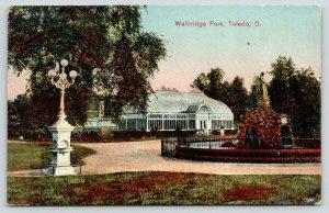Toledo Ohio~Walbridge Park~Conservatory~Water Drinking Fountain~1910 Postcard
