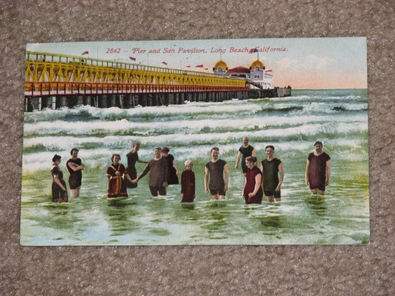 Bather`s at The Pier & Sun Pavilion, Long Beach Calif., Used Vintage Card, 1912