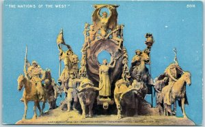 1915 PPIE San Francisco Expo Postcard THE NATIONS OF THE WEST Statue / Unused