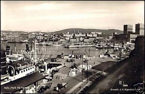 norway, OSLO, Parti fra Havnen, Harbour Scene 40s RPPC