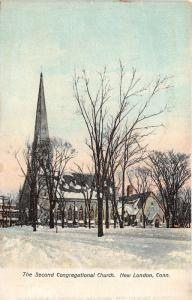 New London Connecticut~Second Congregational Church in Winter~Lots of Snow~c1905
