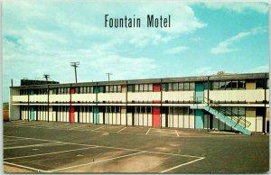 North Bergen, New Jersey Postcard FOUNTAIN MOTEL Chrome Roadside 1959 Cancel