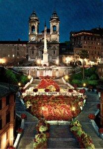Italy Roma Church Of Trinita dei Monti By Night