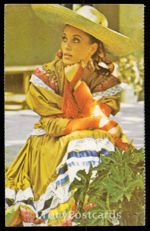A Mexican woman in traditional clothes