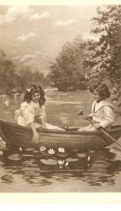Boy and girl in a boat Nice Italian repro of old postcard. Standard