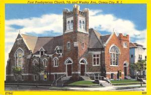 Ocean City NJ~First Presbyterian Church~Stained Glass Windows~Yellow Border 1956