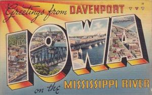 Greeting Card of Iowa Greetings From Davenport Iowa On The Mississippi River ...