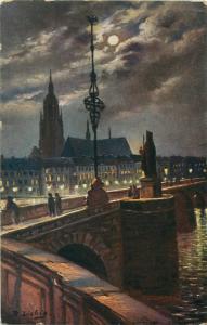 Germany  Zur Erinnerung  Mainbrucke bridge postcard signed B. Liebig