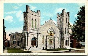 Vtg 1920s St Paul's M.E. Church Wilmington Delaware DE Postcard