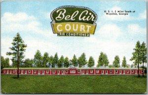 Waycross, Georgia Postcard BEL AIR COURT Motel Route 1 Roadside Linen c1950s