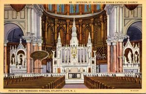 New Jersey Atlantic City St Nicholas Roman Catholic Church Interior Curteich
