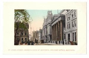 Montreal Canada Postcard St James Street Bank Post Office