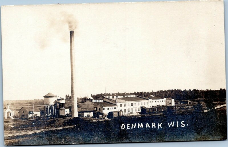 postcard Denmark Wisconsin Condensary rppc AZO 1918-1930