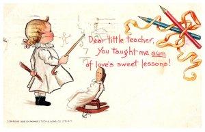 Girl teaching Doll, Tuck, 1903