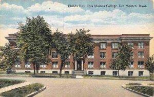 Childs Hall Des Moines College Iowa 1910c postcard