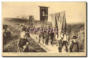 Old Postcard Locronan Troménie The procession approaching the end of the pil...