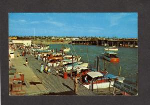 TX Port Isabel Texas Marina Boat Pier Basin Postcard Warsaw Deep Sea Fishing