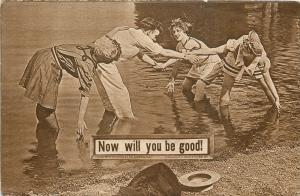 Vintage Bathing Beauties Try To Get Man Wet~Now Will You Be Good!~1908 Sepia PC