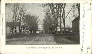 Wayne ME Main St. Looking East c1905 Postcard
