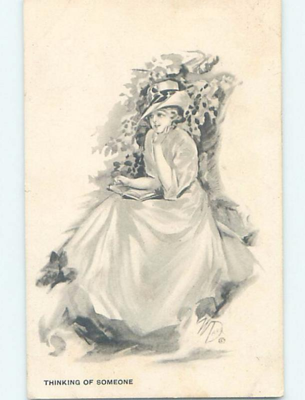 Pre-Linen signed PRETTY GIRL HOLDING HER BOOK IS THINKING OF SOMEONE HL4394