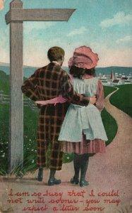 Vintage Postcard 1909 Man & Woman Walking Down Path to Town Love Greeting