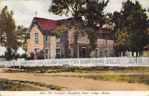 Deer Lodge Montana~St Joseph's Hospital~2 Story Frame~White Picket Fence~1913 PC