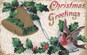 CHRISTMAS, 1900-10s; Greetings, Red Breasted Flycatcher bird pulling string t...