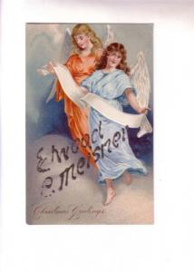 Two Embossed Christmas Angels, Name in Glitter