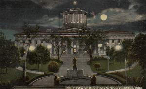 COLUMBUS, Ohio, 1900-10s; Night view of State Capitol, Full Moon