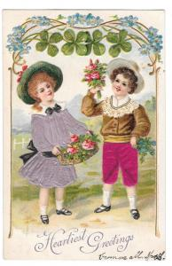 Heartiest Greetings Children Silk Four Leaf Clover Postcard