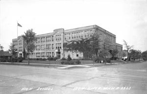 Iron River Michigan~High School Building from Across Street~1940s RPPC Postcard