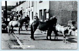 RPPC  PRINCETOWN, Devon England ~ DARTMOOR PONIES Street Scene 1930s UK Postcard