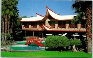 Indian Wells, Calif. Postcard ERAWAN GARDEN HOTEL Japanese Gardens / Pool 1960s