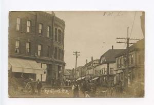 Eastport ME Busy Street View Horse Wagon RPPC Postcard