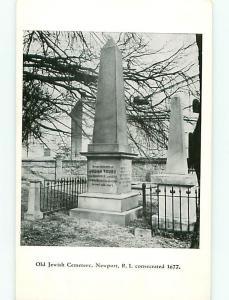 Vintage Post Card Jewish Cemetery Grave Judah Touro Newport  R I   # 4116