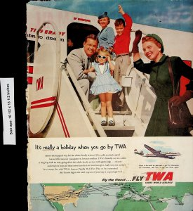 1953 TWA Fly Aiport Holiday Family Vintage Print Ad 4351 ssome stains