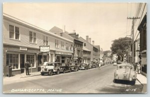 Damariscotta Maine~Uniform Man~Post Office~Waltz Drugs~1st Nat'l Store~RPPC 1945