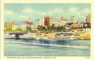 River Front and Levee to Business District, Memphis ,Tennessee, TN, Linen