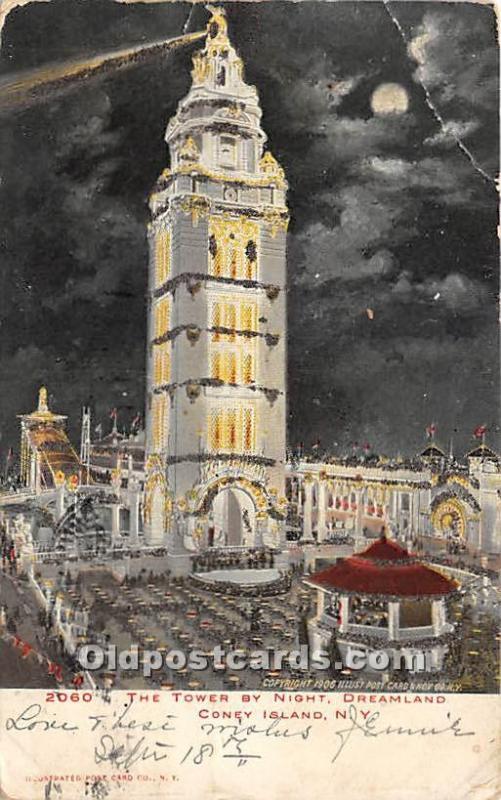 The Tower by Night, Dreamland Coney Island, NY, USA Amusement Park 1906