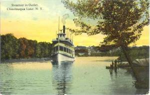 Steamer in Outlet Chautauqua Lake, NY, New York State, 1912 Double Back