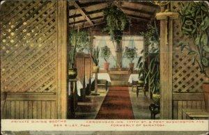 New York City Arrowhead Inn Dining Booth 177th St. c1910 Postcard