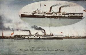 Steamships Chippewa & Corona Between Lewiston & Toronto Postcard c1910