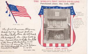PHILADELPHIA, Pennsylvania, PU-1907; World's Most Noted Dwelling, Betsy Ross ...