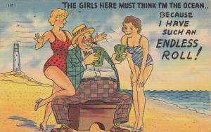 COMIC, PU-1942 ;  Women in bathing suits at beach, Man with Money